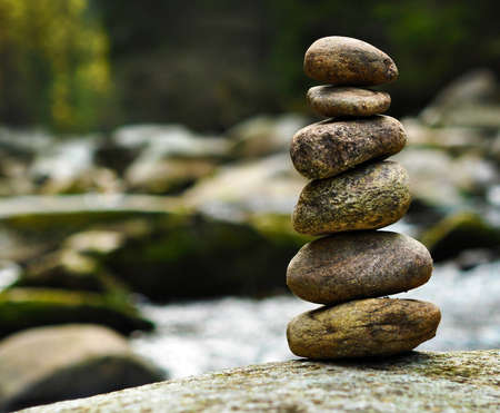 stack stone: stacked rocks at the river Stock Photo