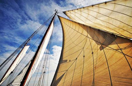 bow of boat: Dutch sailboat  Stock Photo