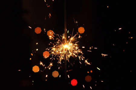 fire works: Golden fire works sparkle with black background