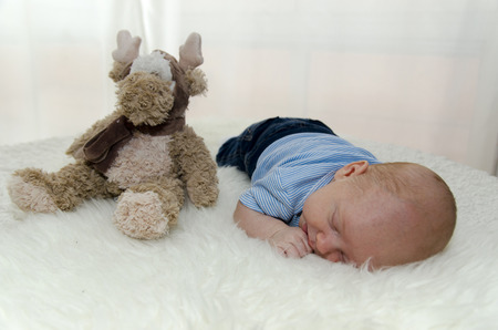 cuddly toy: A little baby on a blanket with a little cuddly toy Stock Photo