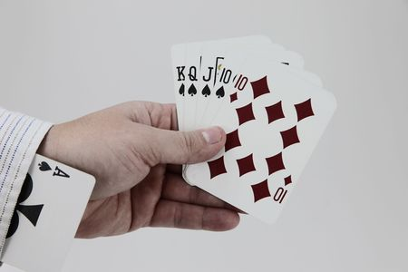 the sleeve: Near perfect hand with a card up the sleeve