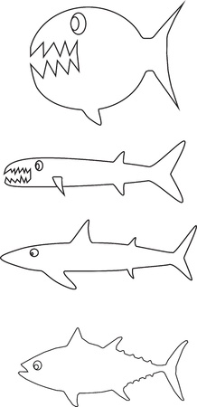 barracuda: Fish outlines