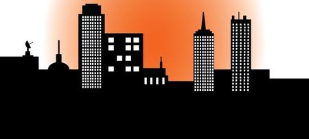 オレンジ色の輝きの都市  イラスト・ベクター素材