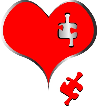 Missing puzzle piece in heart 向量圖像