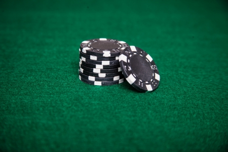Stack of black poker chips