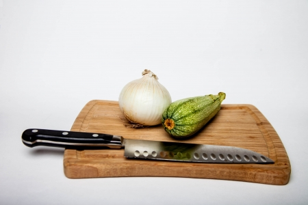 Cutting Board with knife 版權商用圖片