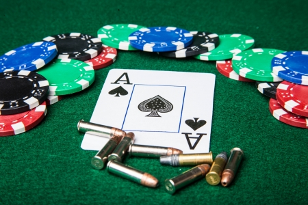 Royal Flush with chips and bullets