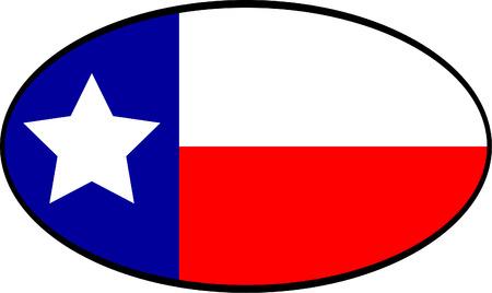 Texas Flag in oval Иллюстрация