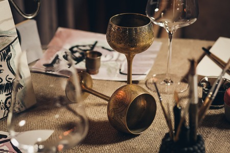 Two metal european wine goblets Stock Photo