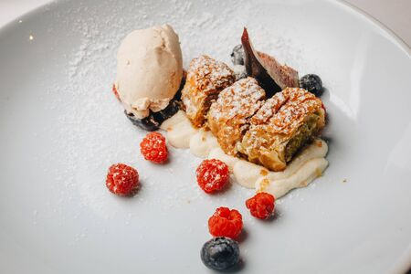 Strudel with raisins, fresh berries and ice cream. Slices of strudel with raisins and apples, sprinkle with powdered sugar on a white plate with fresh berries