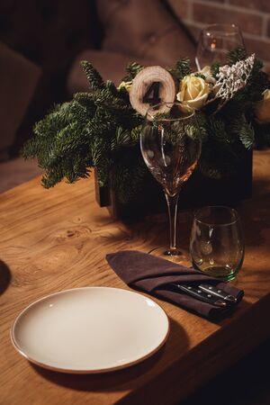 Table served for Christmas dinner . Reklamní fotografie