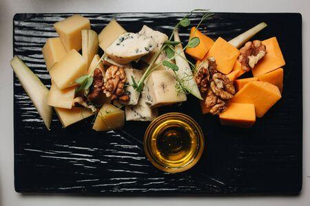 Cheese platter top view. Food. Stock fotó - 136353211