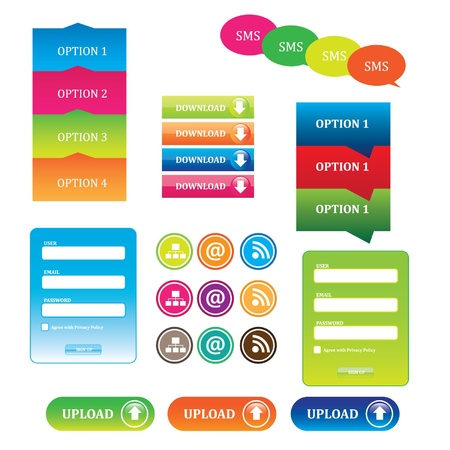 Buttons and icons for websites Illustration