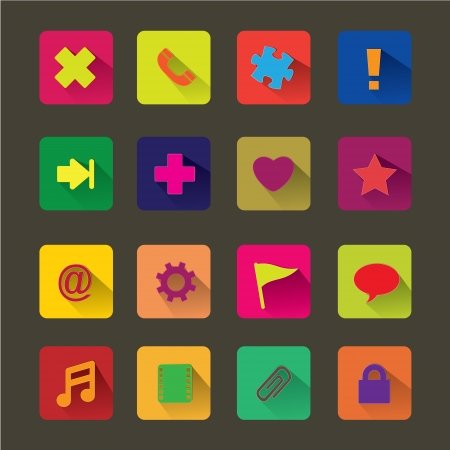 adress book: Basic Flat icon set for Web and Mobile Application