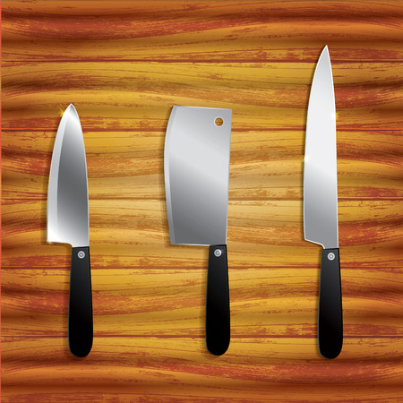 Collection of kitchen knives isolated on wooden background  Illustration