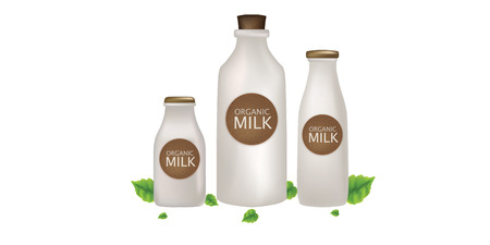 milk and green leaf, healthy milk