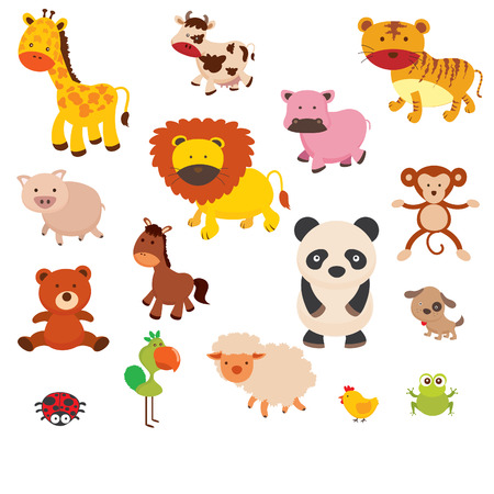illustration of a zoo and the animals in a beautiful nature Illustration