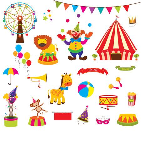 Wektor zestaw ślicznych Circus Ilustracja