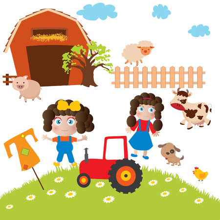 Illustration of the things and animals found at the farm on a white background Vector
