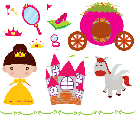 fairly: Vector illustration of princess design elements.