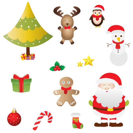 A vector illustration of a collection of Christmas icons Illustration