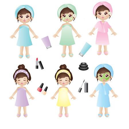 toalla: Spa chica Vectores