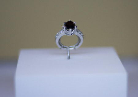 White gold ring with black diamond