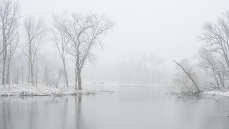 cna: Lago en un parque de Chicago en invierno Foto de archivo