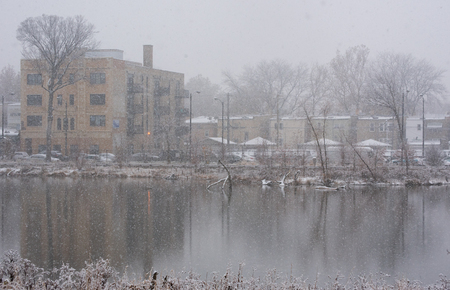 aon: Lake in a chicago park at winter Stock Photo