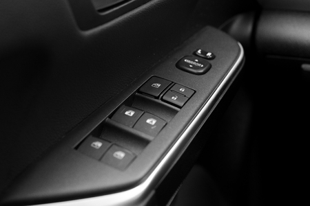 Car dashboard black and white Stock Photo