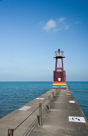 Lighthouse on Michigan Lake Stock Photo