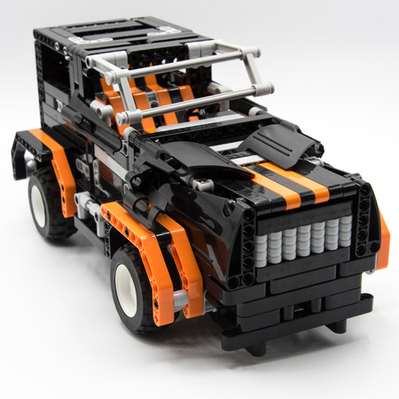 Toy truck from constructor Stock Photo