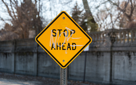 diamond letters: Stop ahead sign