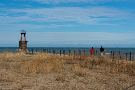 ludington: Lighthouse on Michigan Lake Stock Photo