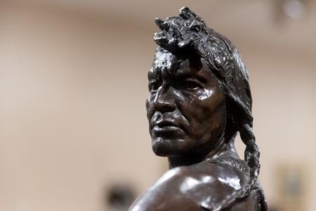 Bronze statue of indian warrior Stock Photo