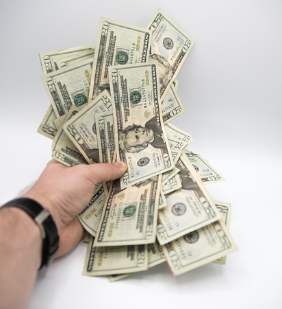 dollar, twenty, senior, background, fifty, offering, white, hand, giving, man, paper, holding, finance, money, financial, wealth, currency, bank, investment, cash, banking, savings, bill, paying, banknote, watch, pile, rich, many, part, usa, note, close,  Stock Photo