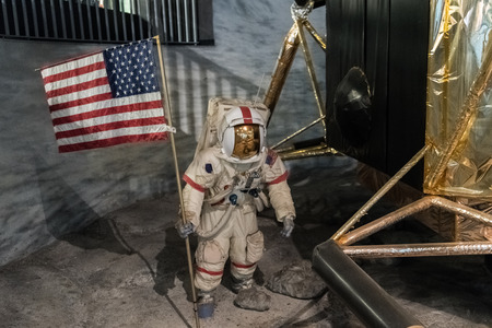 outer clothing: Space man on a station on the Moon Stock Photo