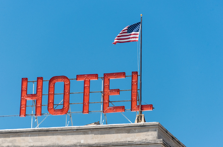American flag on a building in Chicago Stock Photo