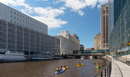 View of a river and buildings in Milwaukee