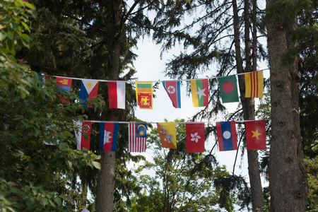 Flags of all Asian countries in the park