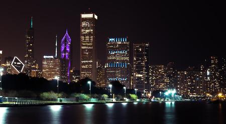 Lights of summer night Chicago Downtown skyline