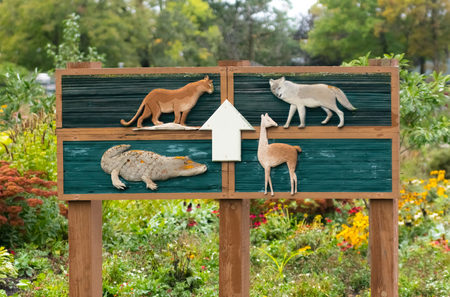 Big sign with animals near the zoo Stock Photo
