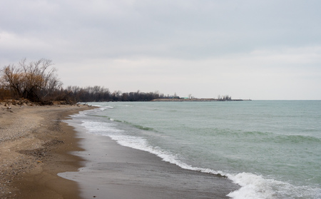 Michigan lake view from a beach in Illinois
