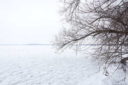 View of a frozen lake covered in snow in Madison, Wisconsin Banco de Imagens
