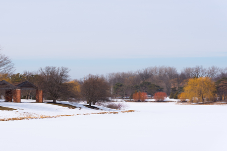 Landscape view of a lake covered in snow in a park