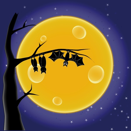 bat on a tree on the background of the Moon Vector