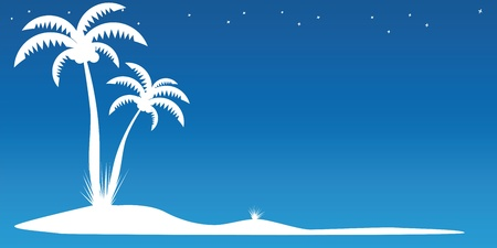 two palm trees on the island Stock Vector - 12806940