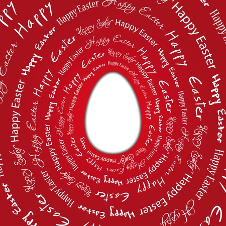 Ostern: Easter egg on a red background with the words happy easter Illustration