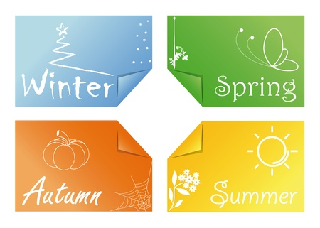 four cards with the symbols of the seasons