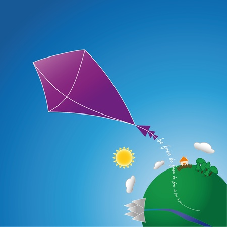 kite flies from planet Earth that says  Vector